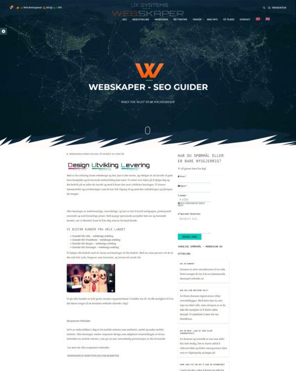 Hjemmeside for bedrift